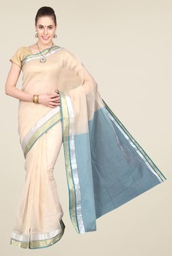 Pavecha's Beige & Blue Banarasi Cotton Silk Saree