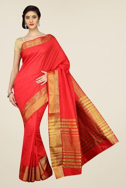 Pavecha's Red Mangalagiri Cotton Silk Saree