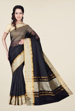 Pavecha's Black Banarasi Cotton Silk Solid Saree - Mp000000000563948