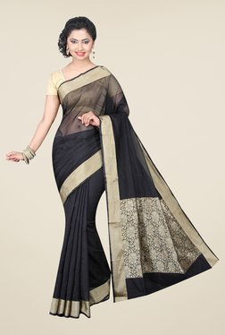 Pavecha's Black Banarasi Cotton Silk Solid Saree