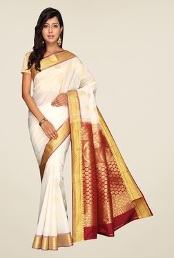 Pavecha's White Kanjivaram Art Silk Saree