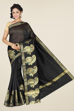 Pavecha's Black Banarasi Cotton Silk Paisley Print Saree
