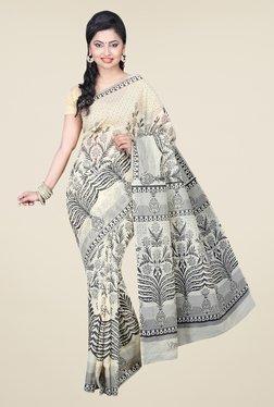 Pavecha's Beige Gadwal Cotton Floral Print Saree
