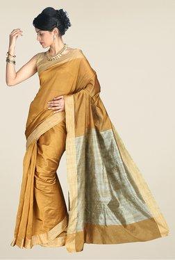 Pavecha's Mustard & Beige Banarasi Cotton Silk Saree