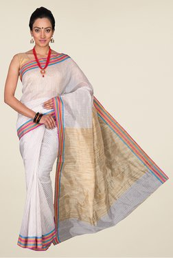 Pavecha's Off White Banarasi Cotton Silk Saree - Mp000000000564303