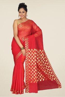 Pavecha's Red Banarasi Cotton Silk Kota Doria Saree