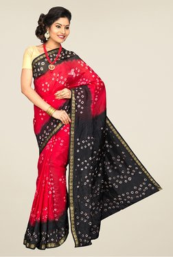 Pavecha's Red & Black Chiffon Saree
