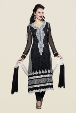 Touch Trends Black & Black Embroidered Dress Material