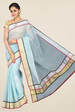 Pavecha's Blue Banarasi Silk Cotton Blend Saree