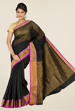 Pavecha's Black Banarasi Silk Cotton Blend Saree