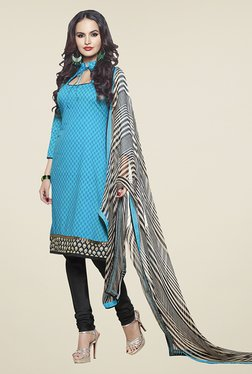 Touch Trends Sky Blue & Black Printed Dress Material