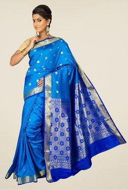 Pavecha's Blue Banarasi Cotton Silk Rich Pallu Saree