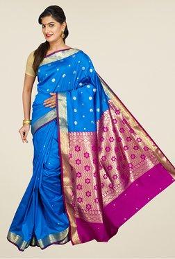 Pavecha's Blue & Pink Banarasi Cotton Silk Rich Pallu Saree