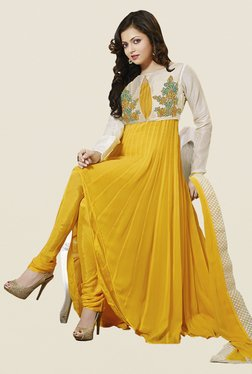 Touch Trends Yellow Floral Print Dress Material