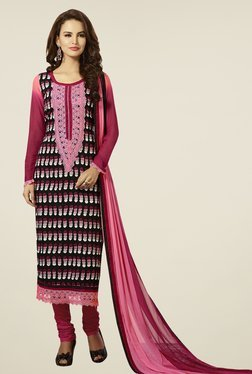Touch Trends Black & Pink Embroidered Dress Material