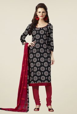 Touch Trends Black & Maroon Printed Dress Material