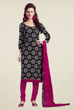 Touch Trends Black & Magenta Printed Dress Material