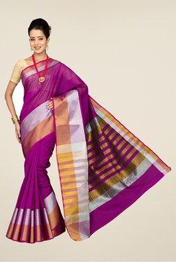 Pavecha's Magenta Banarasi Cotton Silk Party Saree