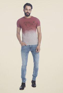 Jack & Jones Maroon Short Sleeve Printed T-shirt