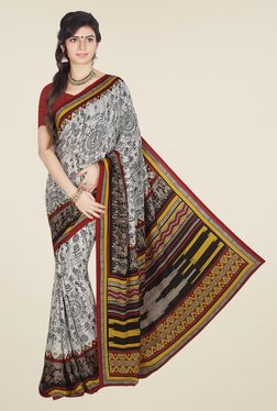 Ishin Off White & Red Faux Crepe Printed Saree