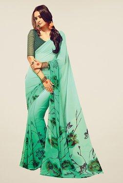 Ishin Green Faux Georgette Floral Print Free Size Saree