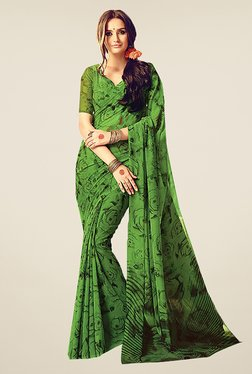 Ishin Green Faux Georgette Floral Print Dry Clean Saree