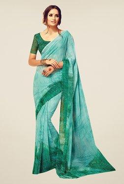 Ishin Green Faux Georgette Printed Saree