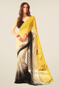 Ishin Beige & Yellow Faux Georgette Floral Print Saree