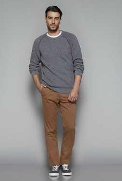 Westsport By Westside Grey Textured Slim Fit Sweater