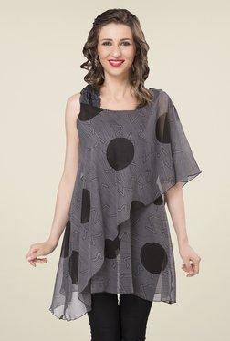 Ishin Grey Printed Georgette Top
