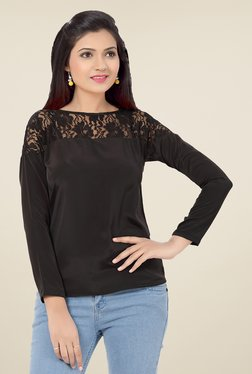 Ishin Black Lace French Crepe Top