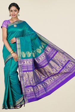Pavecha's Teal Kanjivaram Art Silk Saree