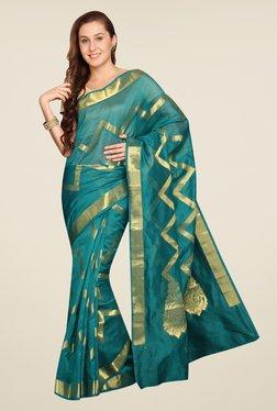 Pavecha's Teal Banarasi Self Design Cotton Silk Saree