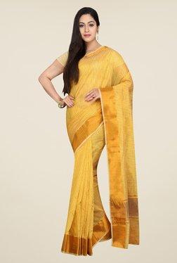 Pavecha's Yellow Banarasi Self Design Cotton Silk Saree