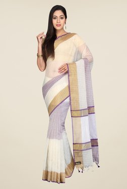 Pavecha's White & Purple Banarasi Cotton Silk Saree