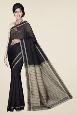 Pavecha's Black Banarasi Cotton Silk Solid Saree - Mp000000000566317