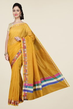 Pavecha's Yellow Banarasi Cotton Silk Solid Saree