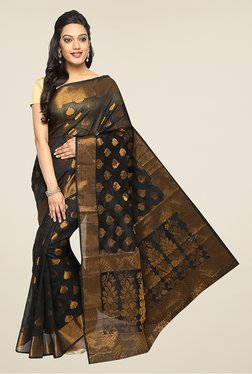 Pavecha's Black Banarasi Cotton Silk Zari Printed Saree
