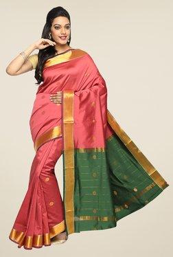 Pavecha's Pink Banarasi Cotton Silk Zari Printed Saree