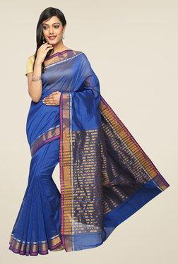 Pavecha's Blue Banarasi Cotton Silk Zari Solid Saree