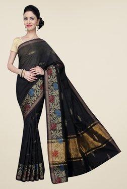 Pavecha's Black Banarasi Cotton Silk Printed Saree