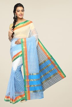 Pavecha's Blue & Off White Banarasi Cotton Silk Checks Saree