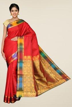 Pavecha's Red Mysore Cotton Silk Zari Buta Saree