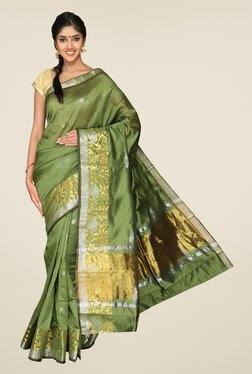 Pavecha's Green Banarasi Cotton Silk Printed Zari Saree