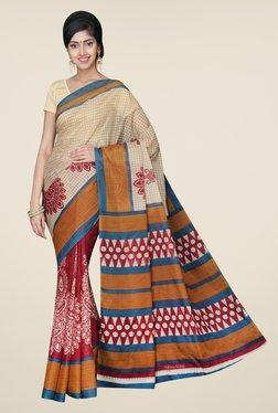 Pavecha's Beige & Maroon Mangalagiri Poly Cotton Saree