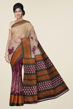 Pavecha's Beige & Magenta Mangalagiri Poly Cotton Saree