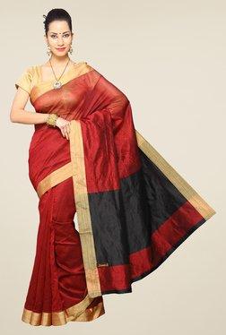 Pavecha's Maroon Cotton Silk Saree