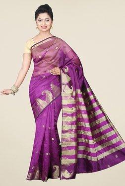 Pavecha's Purple Banarasi Cotton Silk Printed Saree