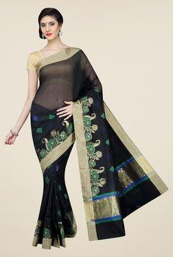 Pavecha's Black Banarasi Printed Cotton Silk Saree