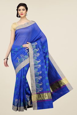 Pavecha's Blue Banarasi Printed Cotton Silk Saree